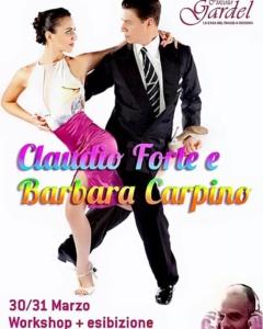 barbara carpino e claudio forte, flyer per stage di tango al circolo gardel